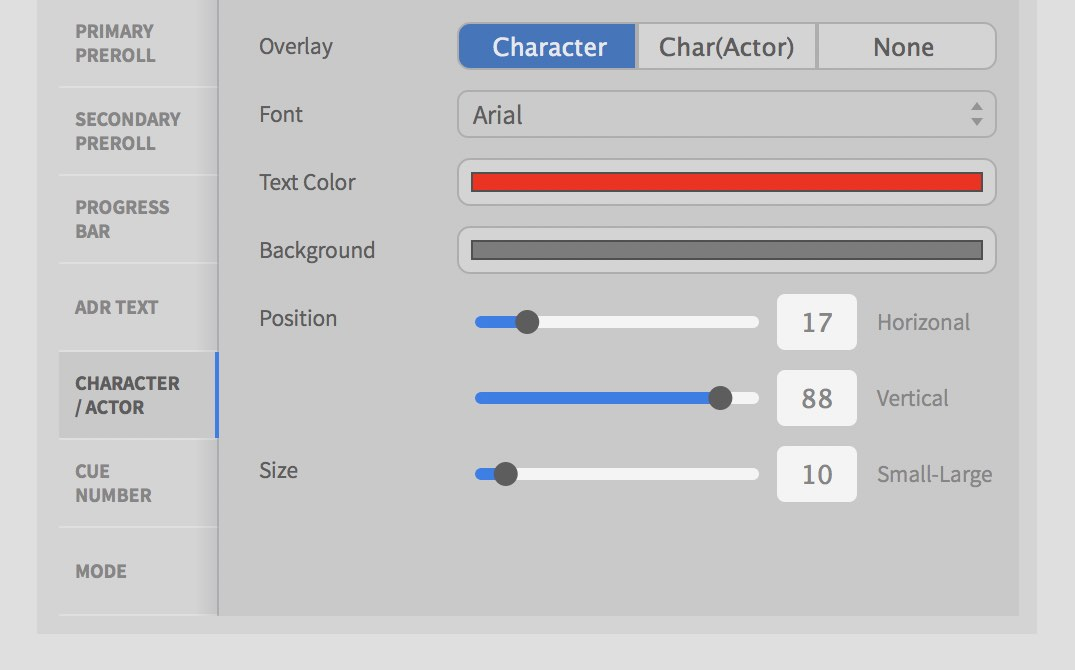 ADRM Preferences Overlay Char/Actor