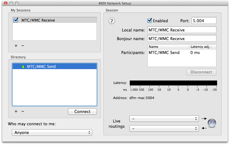 Non-Lethal Applications - Network MIDI setup