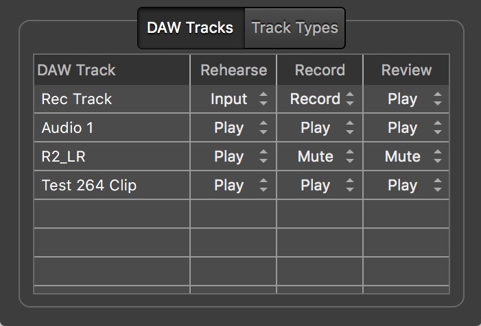 Video Slave 3 - DAW Settings Window - DAW Tracks