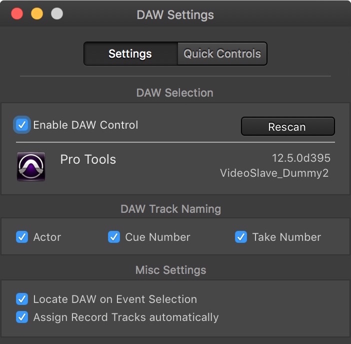 Video Slave 3 - DAW Settings