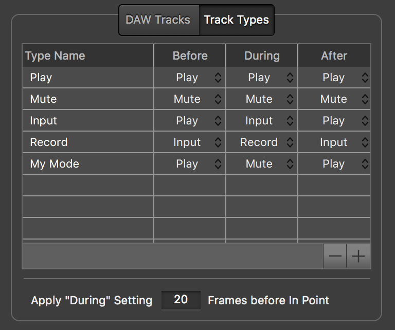 Video Slave 3 - DAW Settings Window - Track Types
