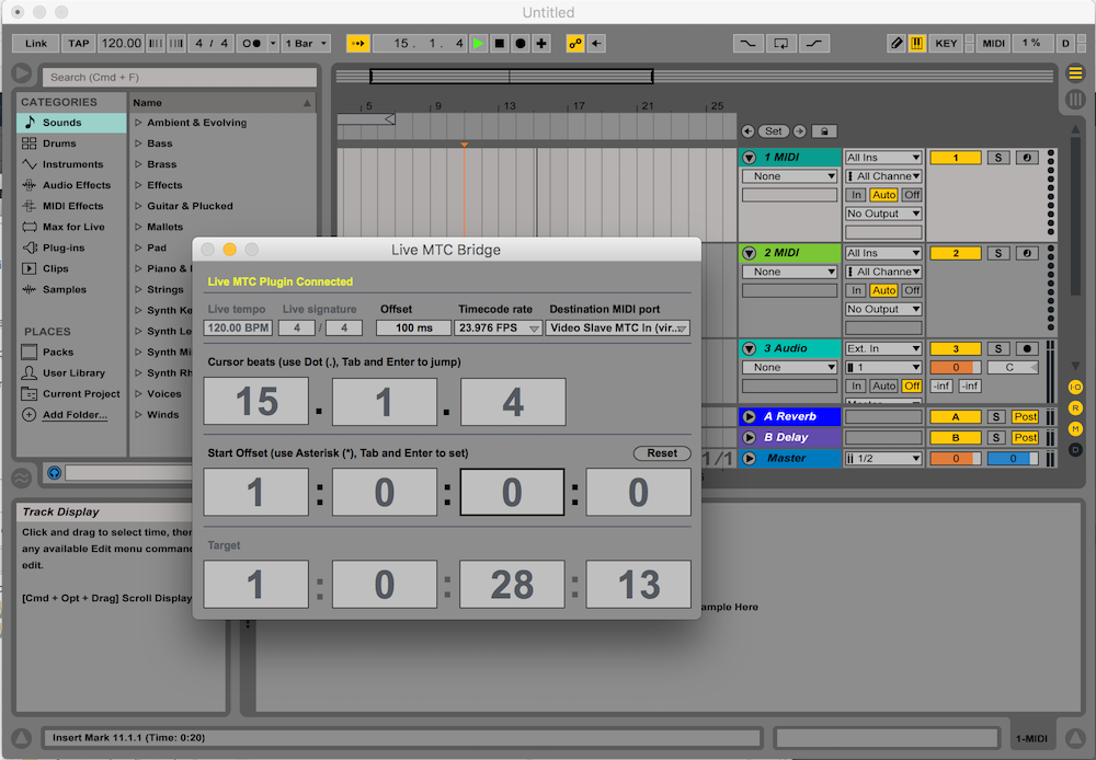 Ableton MTCBridge Screener